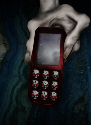 "Satan's Cell Phone,  Cover Art for ""Burn  Phone."" by Alecia Nye"