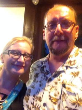 "Me with fellow horror author and screenwriter Keith Rommel listening to the sounds of 70's progressive rock band ""Bang"" at the Sunbury Press 10th Anniversary party held at Metropolis Art Gallery in Mechanicsburg The party was also a signing and celibration for Keith's movie ""The Cursed Man"" based on his novel of the same name. Me with fellow horror author Catherine Jordan. Cathy wrote the chilling, ""Seeking Samiel"" With Christina Steffy who not only edited Keith's ""The Cursed Man"" but also edited my collection ""13 Nasty Endings"""