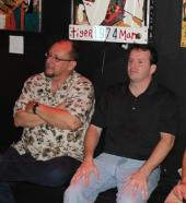 """Me with fellow horror author and screenwriter Keith Rommel listening to the sounds of 70's progressive rock band """"Bang"""" at the Sunbury Press 10th Anniversary party held at Metropolis Art Gallery in Mechanicsburg The party was also a signing and celibration for Keith's movie """"The Cursed Man"""" based on his novel of the same name."""